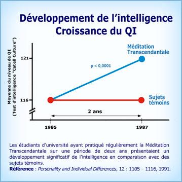 Graphique Méditation Transcendantale et augmentation du QI